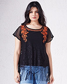 Lace Top with Contrast Embroidery