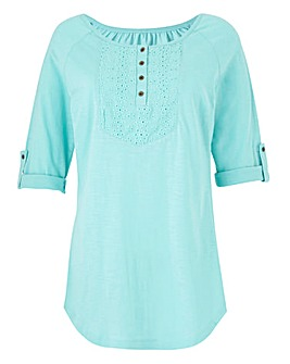 Embroidered front Jersey Top