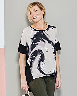 Woven Front Jersey Top With Dip Back