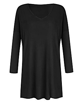 Black V-Neck Slouch Tunic