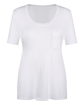 White Round-Neck Jersey Top