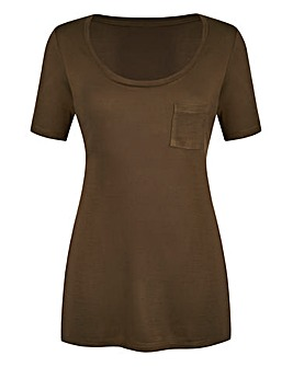 Khaki Round-Neck Jersey Top