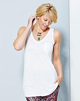 White V-Neck Jersey Vest With Pocket
