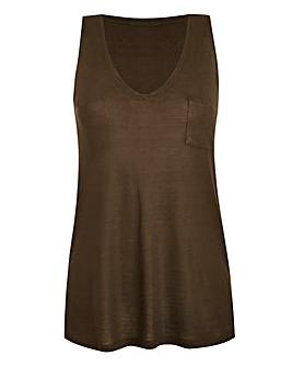 Khaki V-Neck Jersey Vest With Pocket
