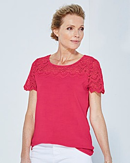 Lace Neck and Sleeve Top