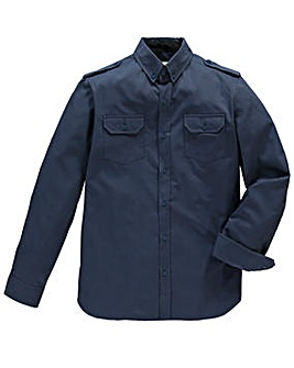 Jacamo Long Sleeve Navy Military Shirt L