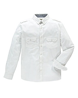 Jacamo Long Sleeve White Military Shirt