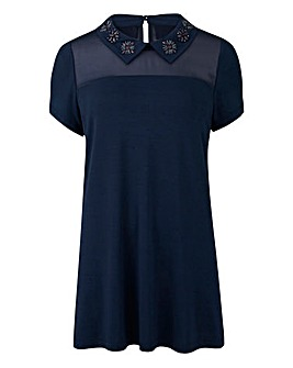 Navy - Embellished Jewel Collar Top