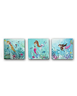 Mermaid World Set of 3 Printed Canvas