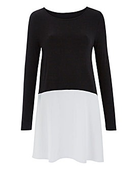 Black/White Woven Hem Swing Tunic