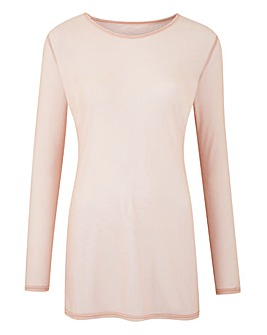 Blush Long Sleeve Mesh Top
