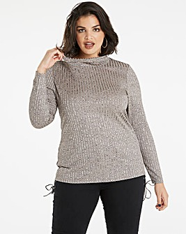 Bronze Rib Polo Neck Top