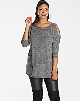 Grey Oversized Cold Shoulder Tunic