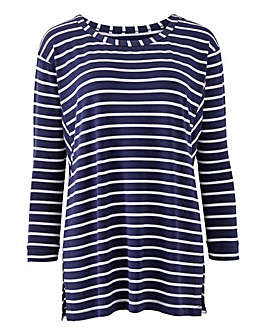 Navy Stripe Boxy Swing Top