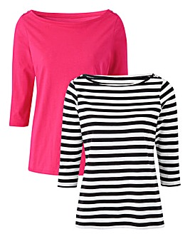 Pink/ Stripe Pack Of 2 Boat Neck Tops