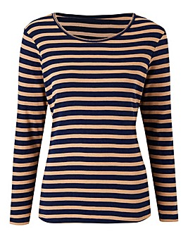 Navy Stripe Crew Neck Long Sleeve Top