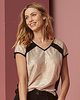Gold/Black Colour Block Metallic Top