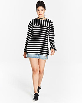 Black/White Stripe Flare Sleeve Top