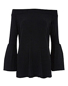 Black Slinky Flared Sleeve Bardot Top