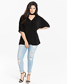 Black Slinky Choker Neck Top