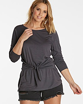 Charcoal Marl Tie Front Top