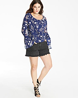 Floral Print Split Sleeve Wrap Top