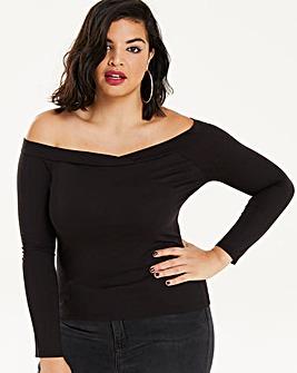 Black Long Sleeve Bardot Top