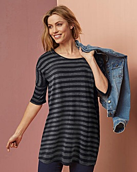 Charcoal Marl Stripe Oversized Boxy Top