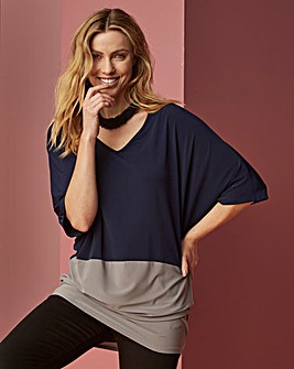 Navy/ Grey Colour Block Tunic