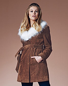 Simply Be Faux Fur Collar Suede Coat