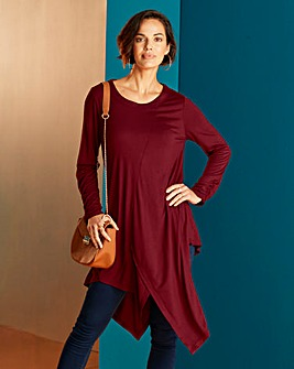 Wine Ruched Sleeve Asymmetric Hem Tunic
