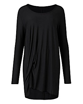 Black Long Sleeve Tuck Tunic