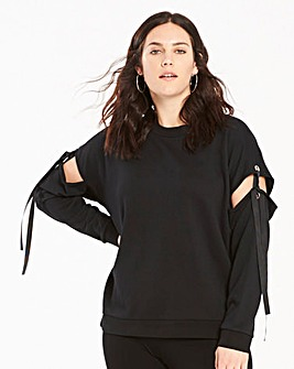 Black Tie Up Split Sleeve Sweatshirt
