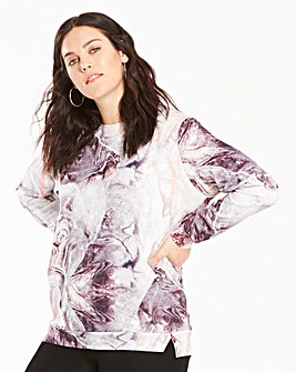 Grey Marble Print Lightweight Scuba Top