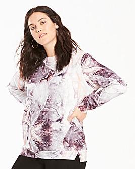 Grey Marble Print Scuba Sweatshirt