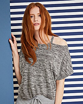 Grey Space Dye Cut Out Neck T-shirt