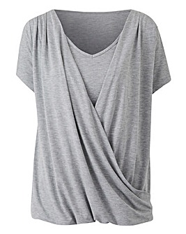 Grey Marl Short Sleeve Wrap Top