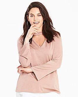 Dusky Pink Choker Neck Long Sleeve Tunic