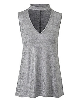 Silver Choker Neck Sleeveless Tunic