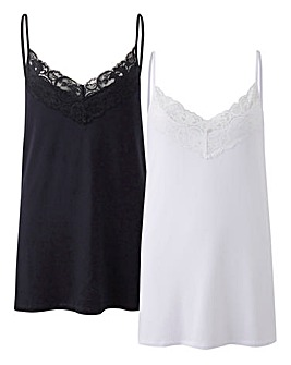 Black/ White Pack of 2 Lace Camis
