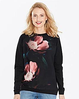 Black Floral Woven Front Sweatshirt
