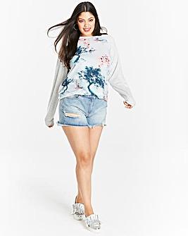 Woven Front Print Sweatshirt