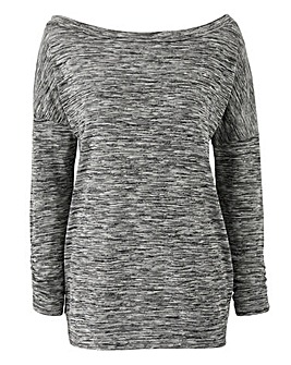 Grey Space Dye Slouch Jersey Top