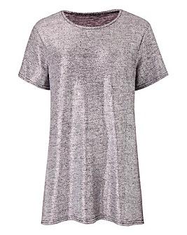 Silver Metallic Foil Print T-shirt