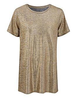 Gold Metallic Foil Print T-shirt