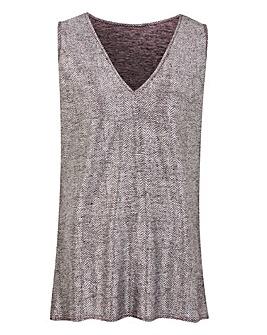 Silver Metallic Foil Print Vest