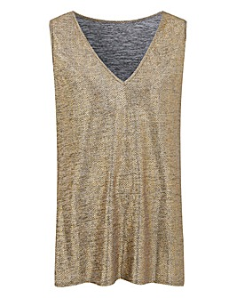Gold Metallic Foil Print Vest