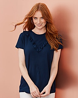 Navy Chevron Ruffle T-shirt