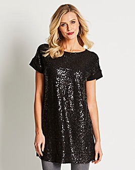 Black Sequin Front Jersey T-shirt