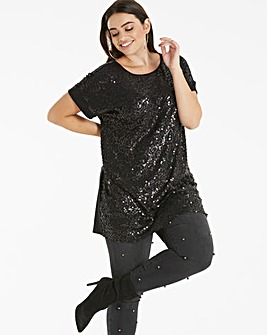 Black Sequin Front Jersey Tunic
